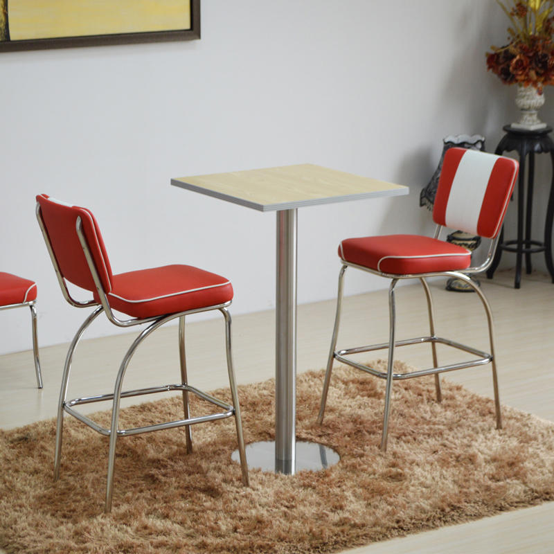 (SP-HBC424) Retro furniture upholstered dining high chair Metal bar stool with back