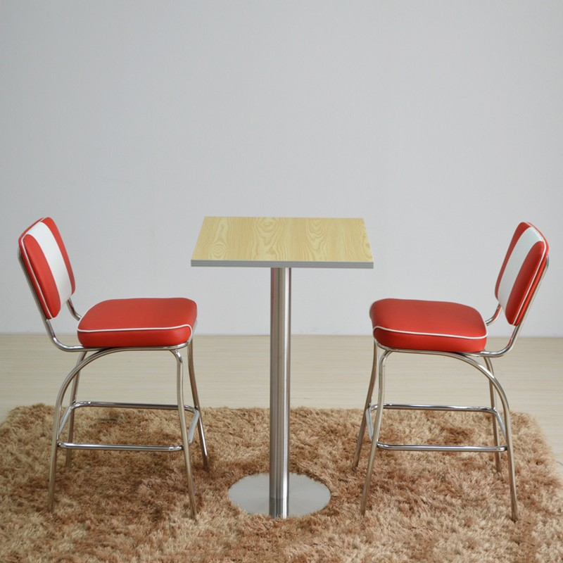 product-SP-HBC424 Retro furniture upholstered dining high chair Metal bar stool with back-Uptop Furn