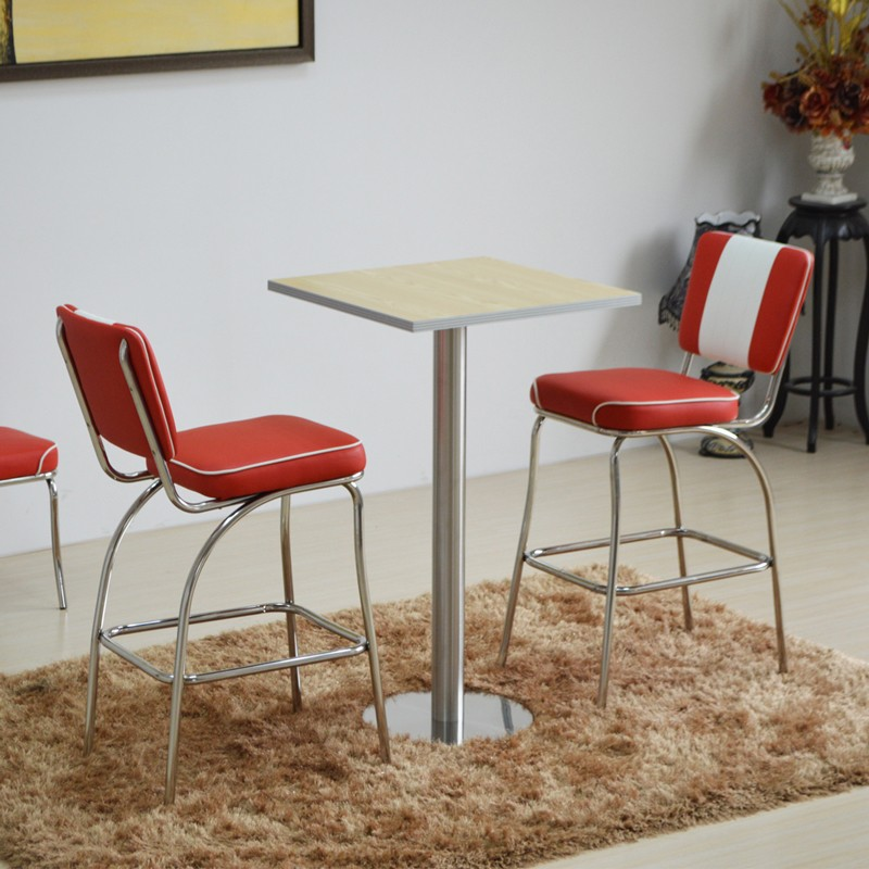 product-Uptop Furnishings-SP-HBC424 Retro furniture upholstered dining high chair Metal bar stool wi
