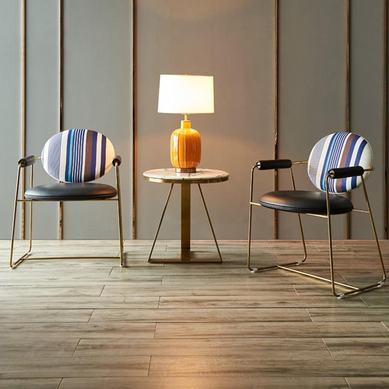 (SP-HC665) Modern lounge upholstered metal restaurant furniture arm chair