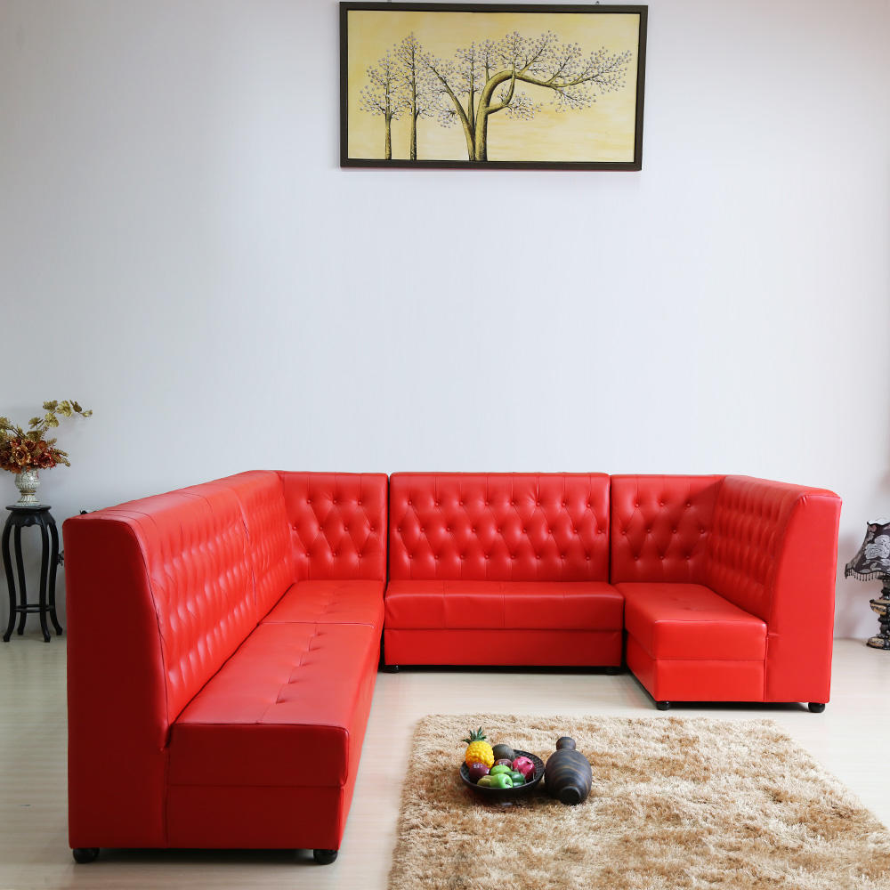 (SP-KS391) American Style hotel furniture living room set restaurant booth leather sofa