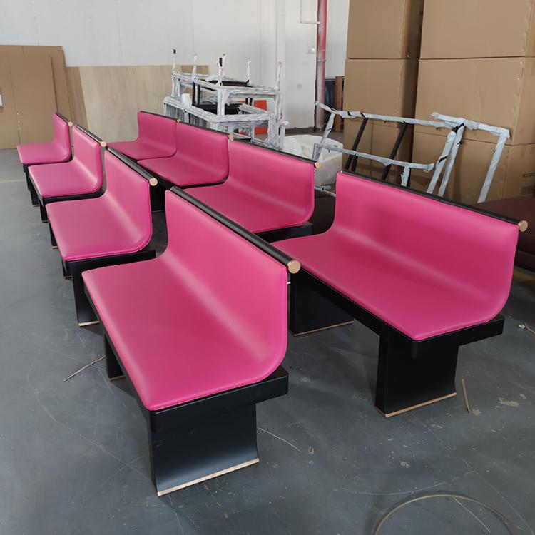 (SP-KS386) Modern Durable Pink sofa booth seating dining sets metal restaurant furniture