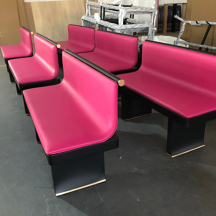 product-SP-KS386 Modern Durable Pink sofa booth seating dining sets metal restaurant furniture-Uptop