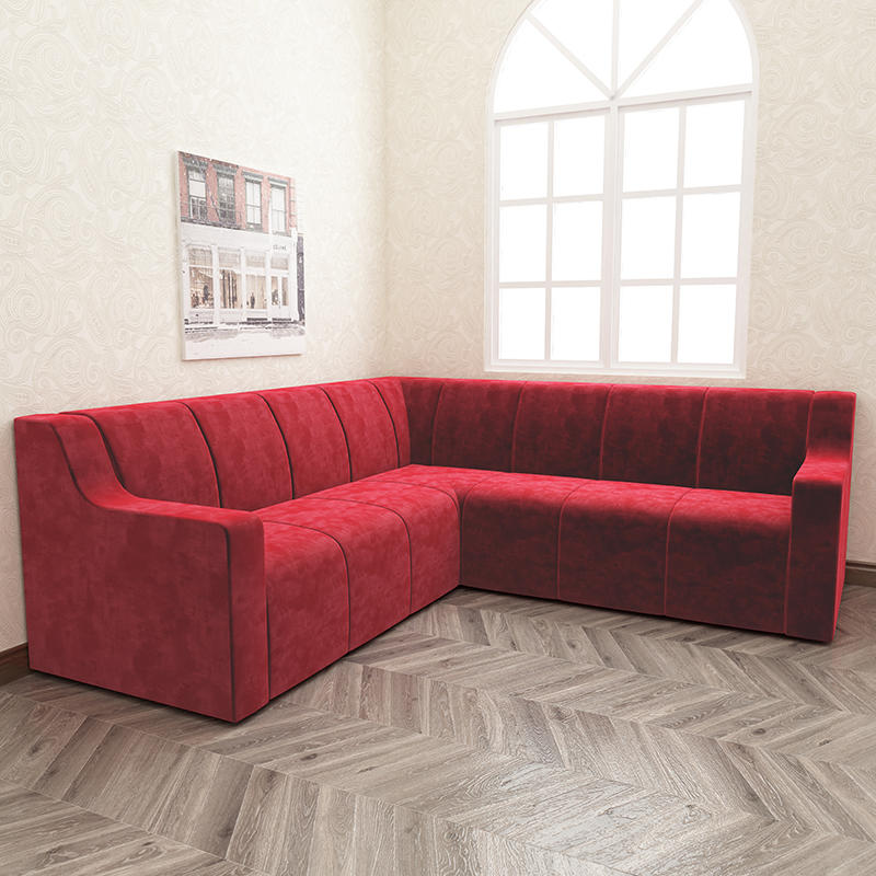 (SP-KS387) New modern red fabric sofa booth seating sectional sofa set designs