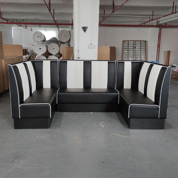 product-SP-KS269 Restaurant sets seating black leather sofa-Uptop Furnishings-img