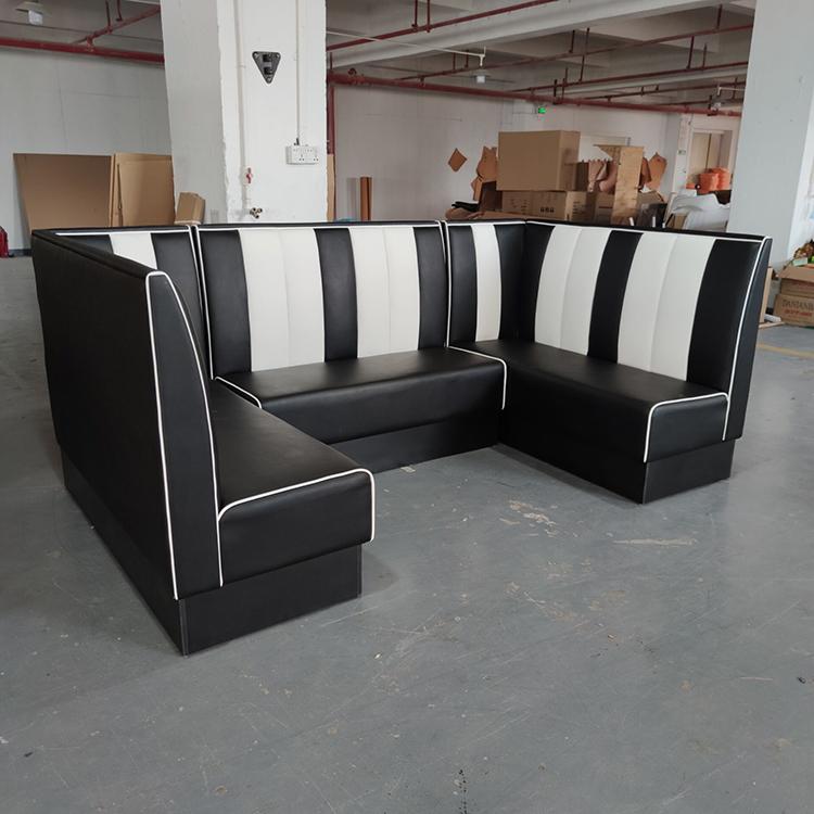 product-Uptop Furnishings-SP-KS269 Restaurant sets seating black leather sofa-img
