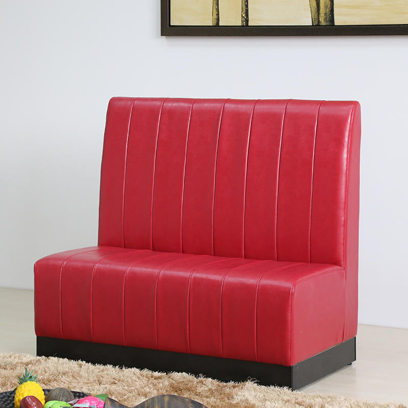 (SP-KS257) Cafe furniture red leather sofa booth seating