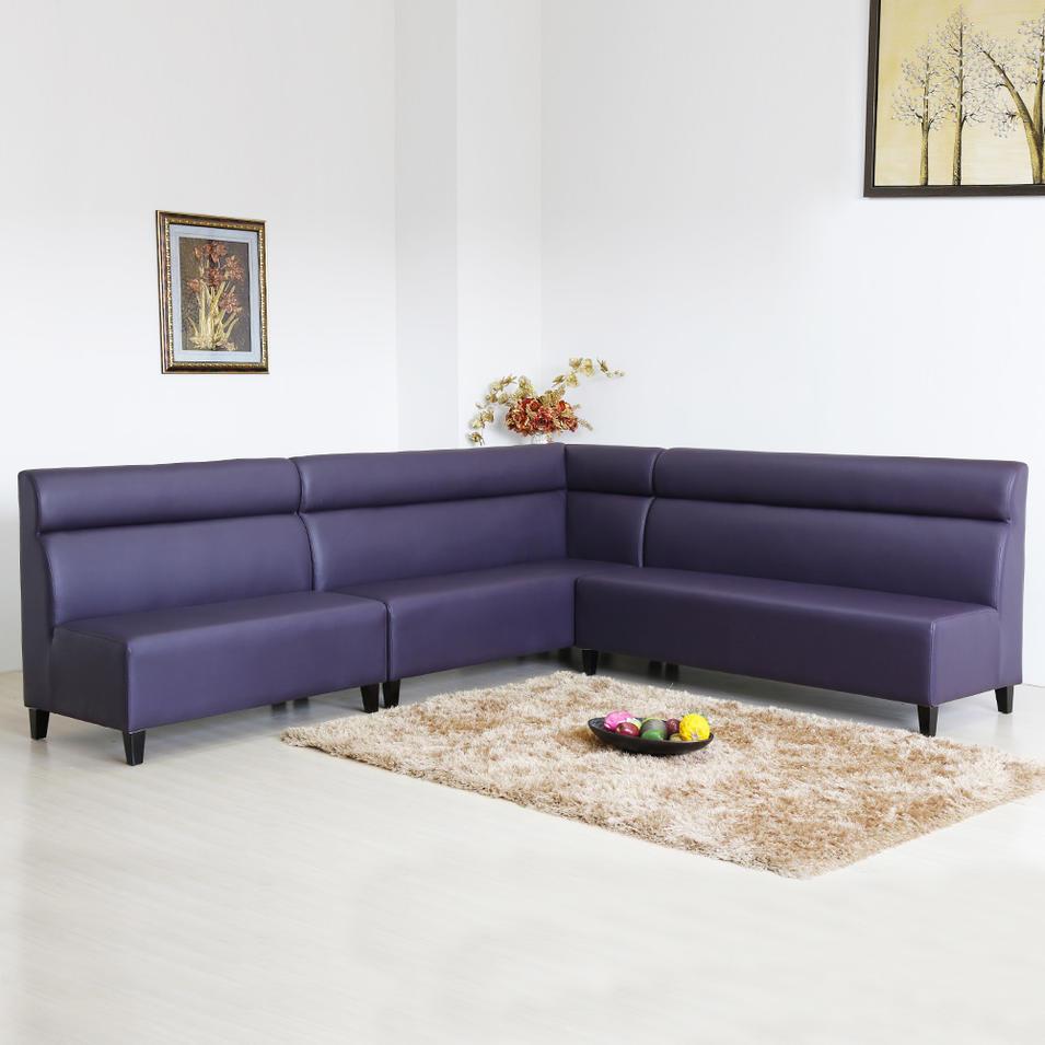 (SP-KS242) Modern furniture purple leather sofa booth seating