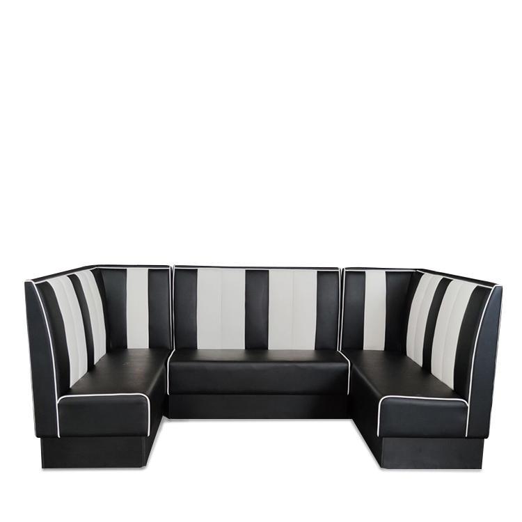 (SP-KS269)  Restaurant sets seating black leather sofa
