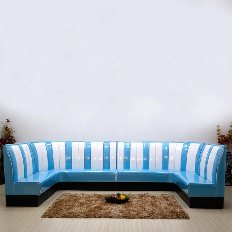 (SP-KS269) 1950s leather sofa restaurant booth cafe furniture