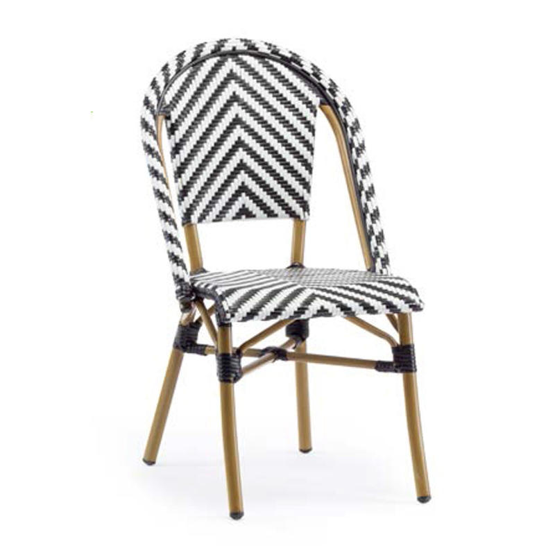 Muti-Color Weaved Diamond Pattern Rattan French Dining Chair