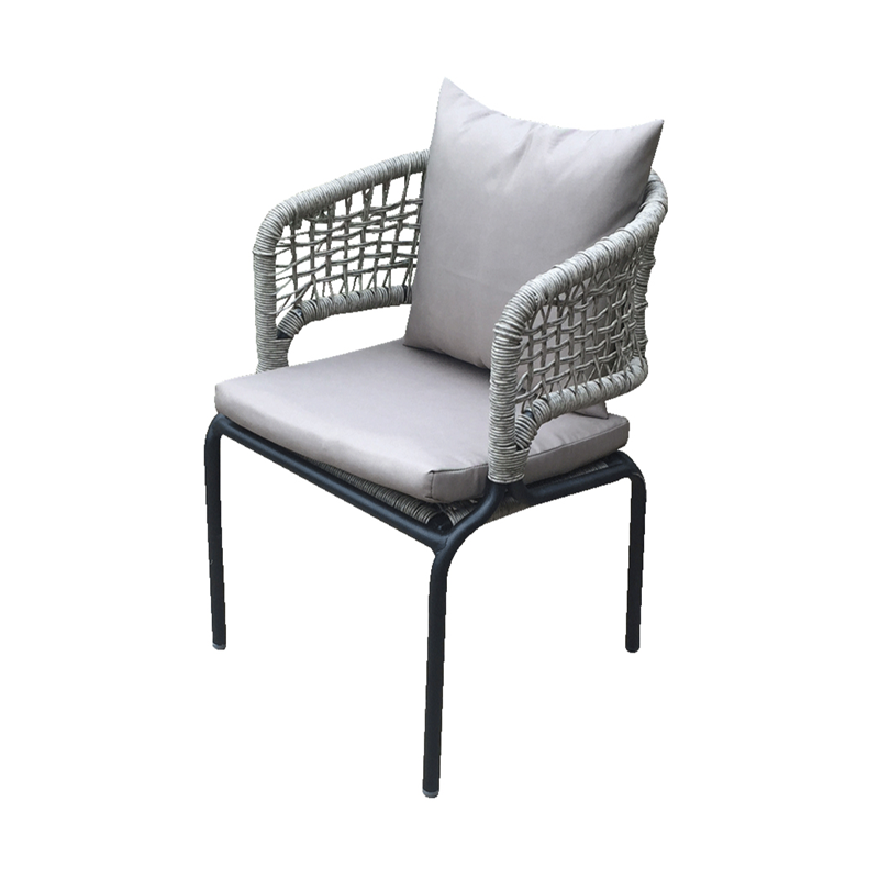 Cafe Furniture Grey Cushion seat Metal Outdoor Bistro Arm Chair