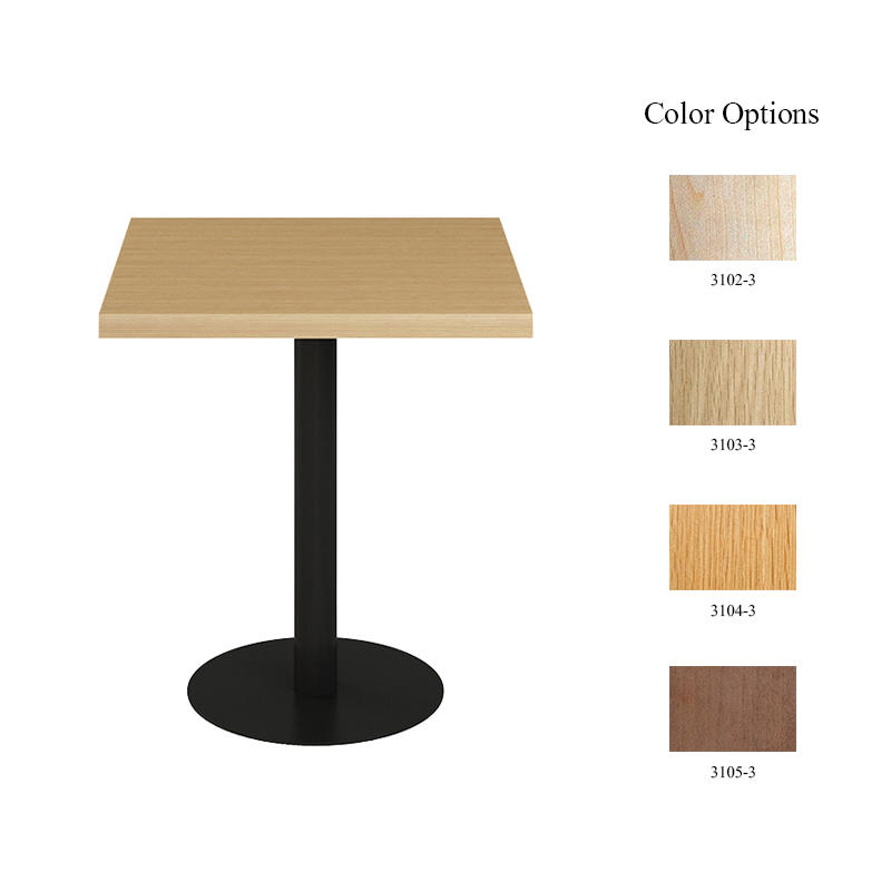 Hot sale coffee furniture square laminate table top black steel base metal coffee tables
