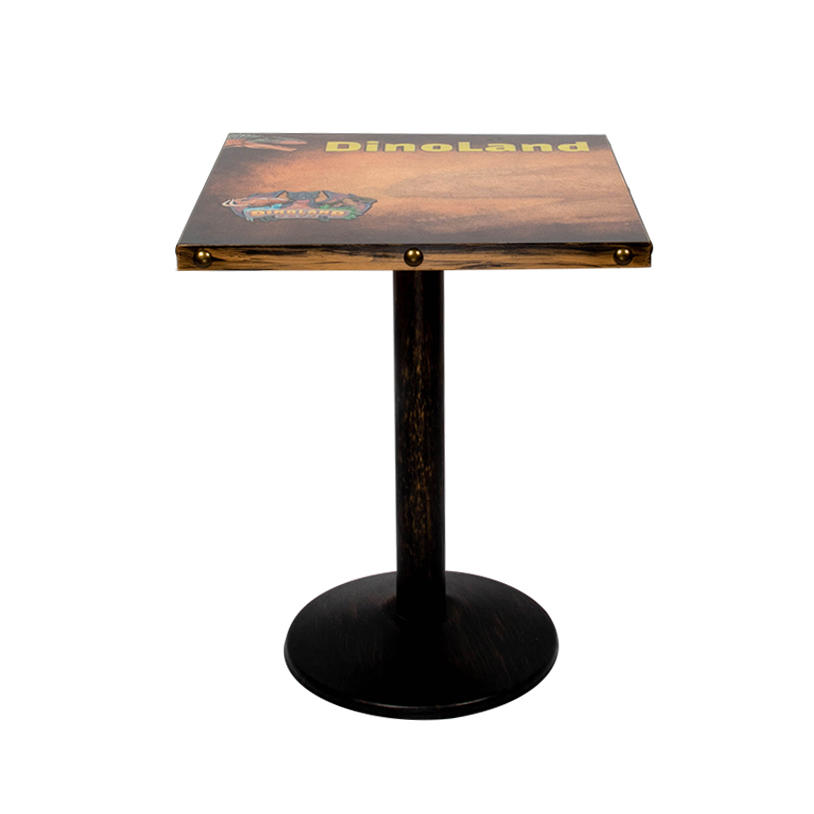 Fashionable picture printing laminate top metal base dining tables for sale