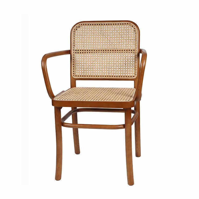 Popular hot sale rattan wood arm dining chair