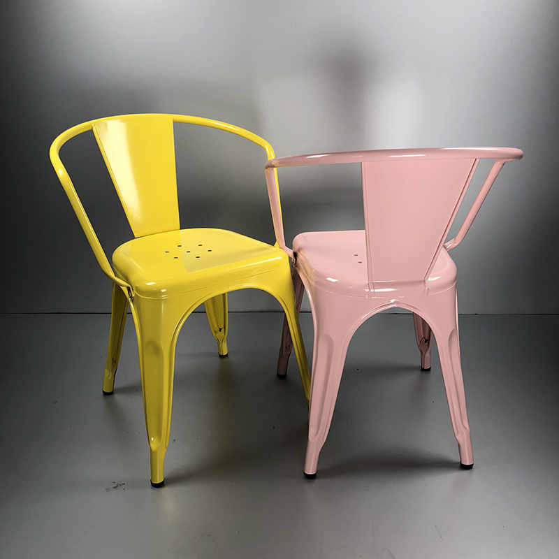Colorful metal dining chair for restaurant