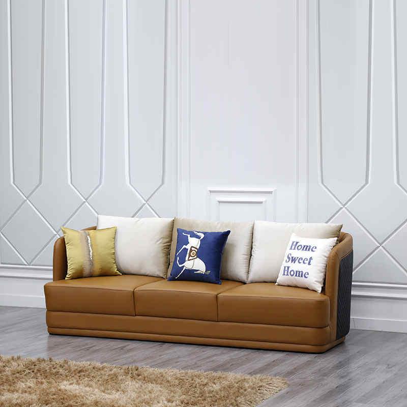 Modern three seater leather sofas living room sofas