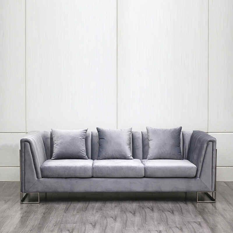 Three seater velvet luxury sofa living room furniture sofa set