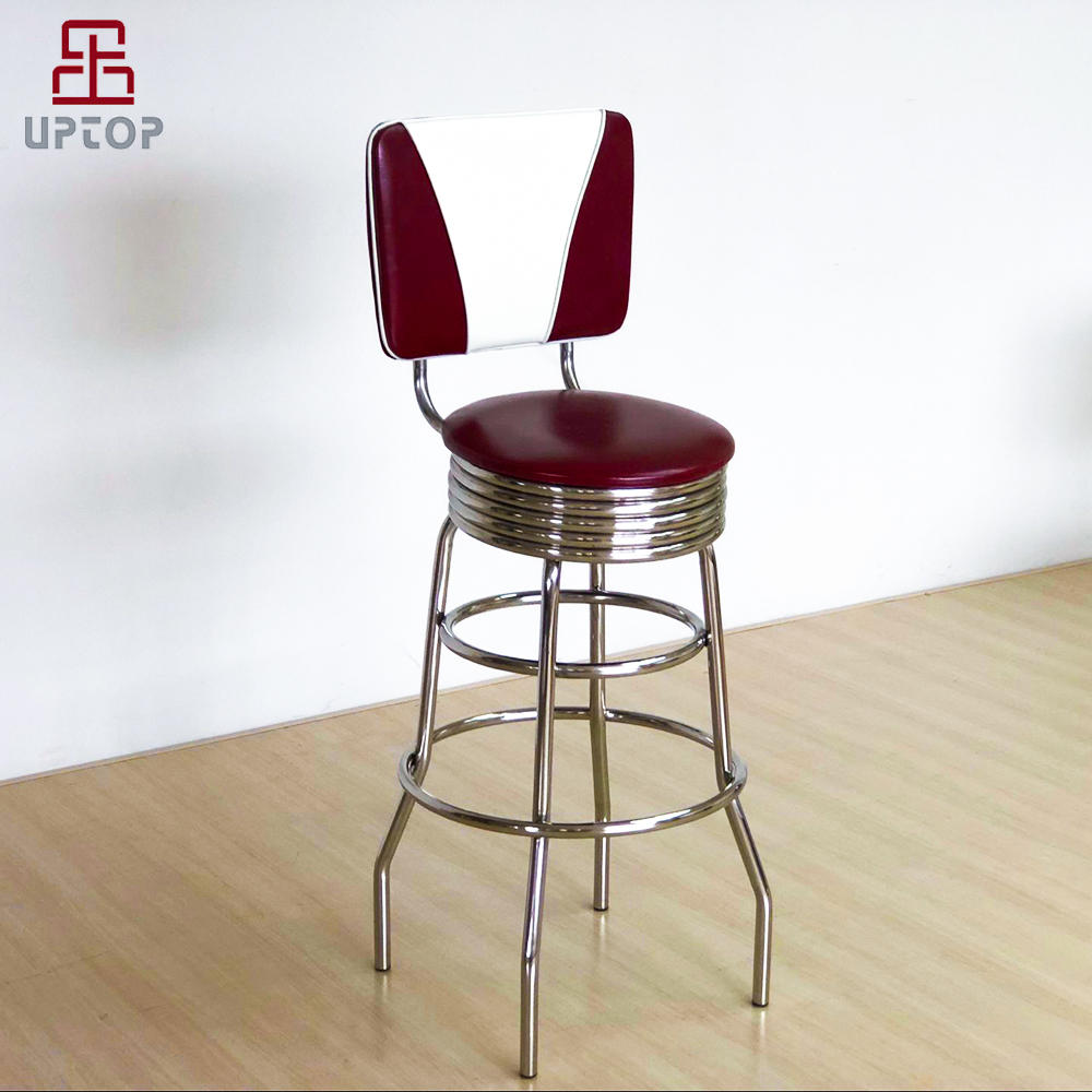 Vintage red leather upholstered American retro bar chair