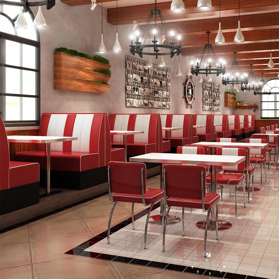 (SP-KS269) Retro American 50s style leather sofa set restaurant dining sofa