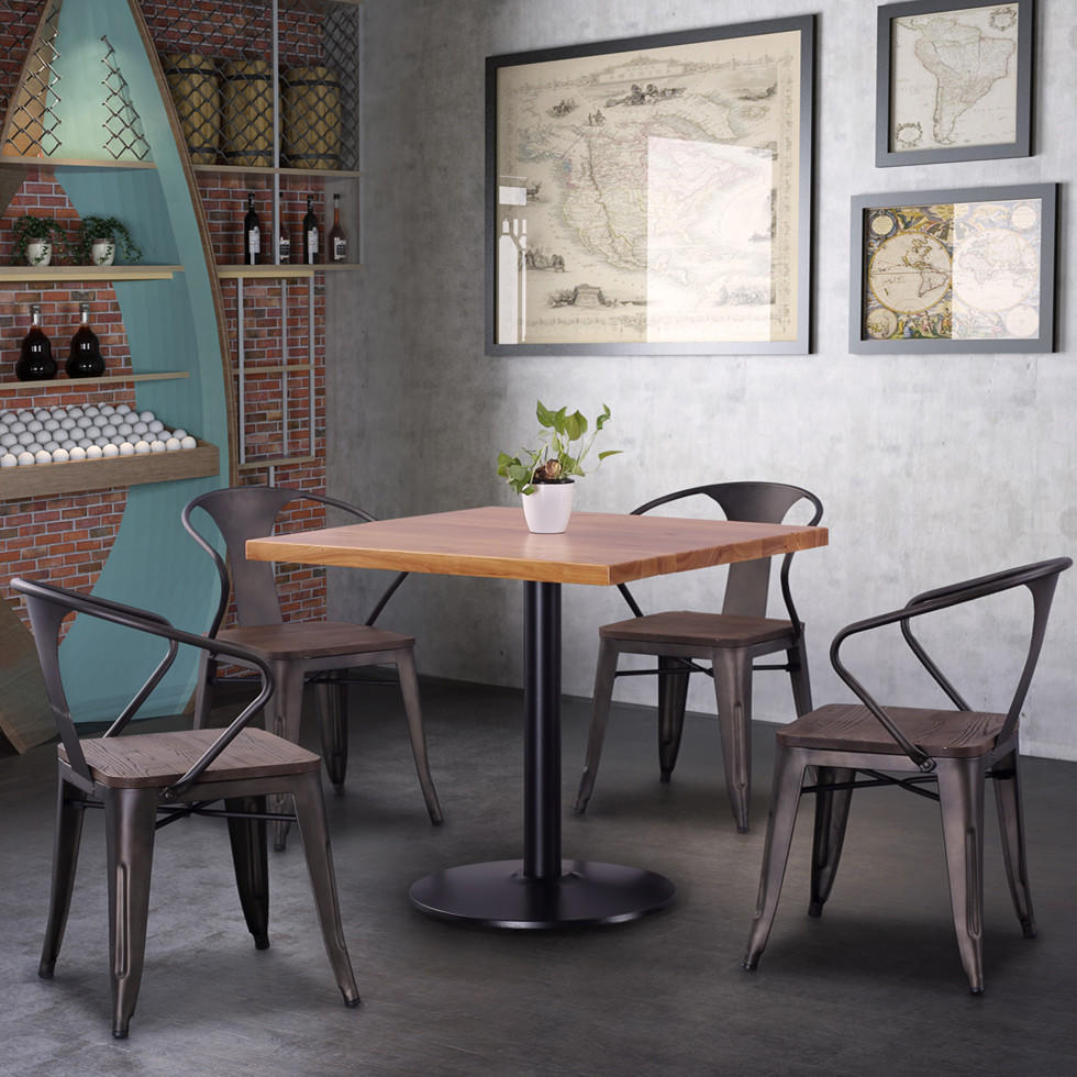 (SP-CT859) Widely Used industrial metal dining table and chairs for restaurant/cafe