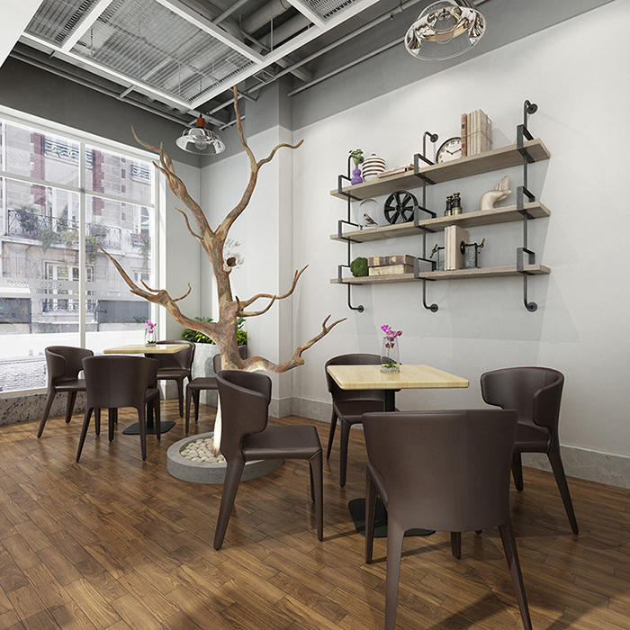 (SP-CS115) Customized  cafe Furniture PU leather metal restaurant table and chair sets