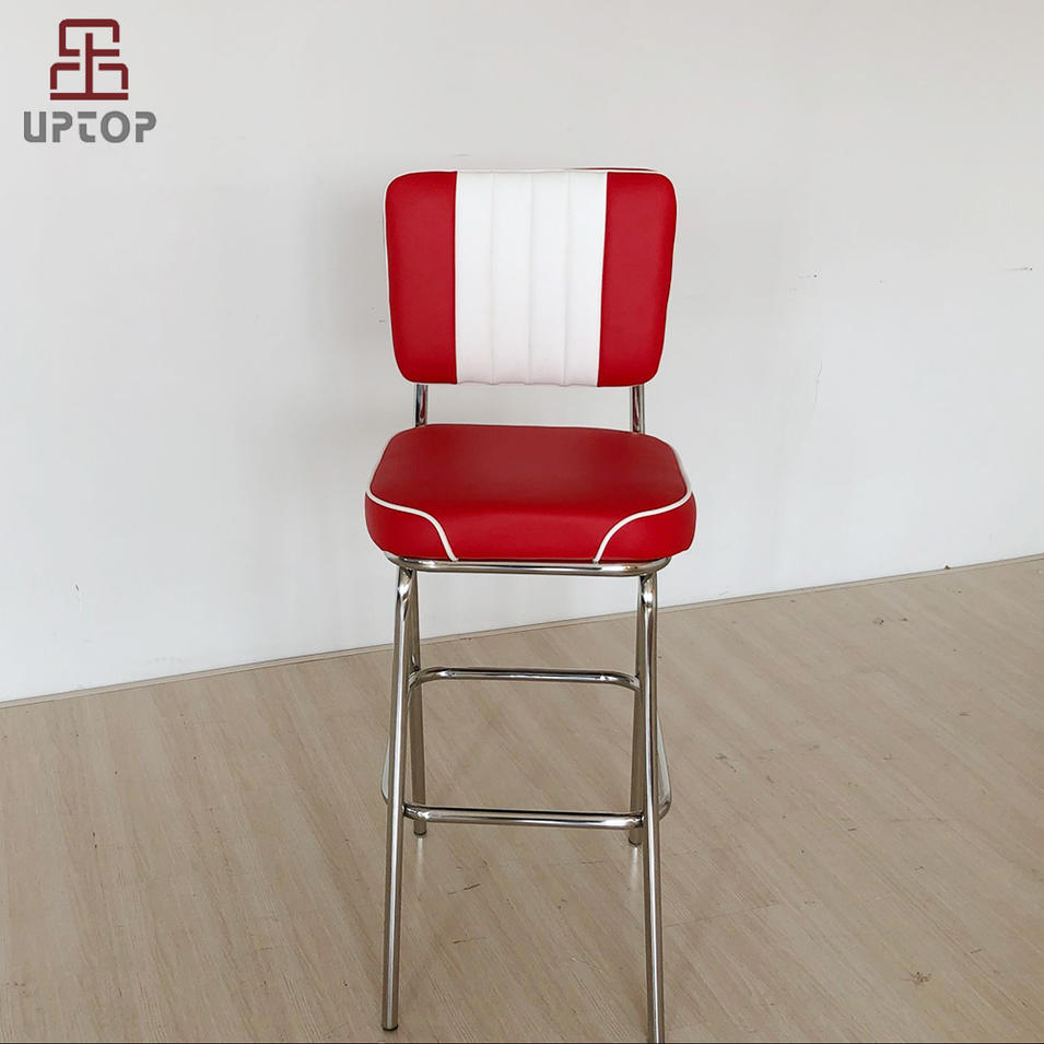 (SP-BS424) American Style stainless steel chair leather bistro bar stool high chair