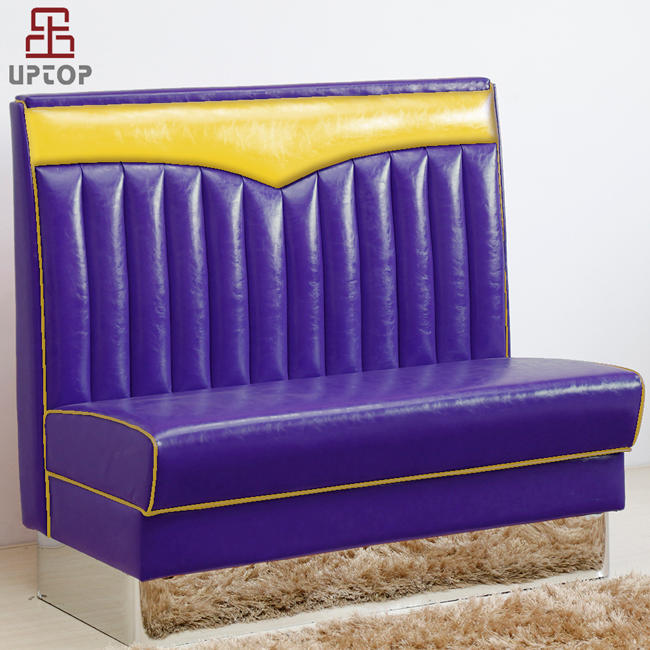 (SP-KS268) Comfortable wood frame sectional decorative metal edging leather sofa for dining room