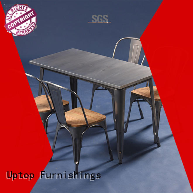 Uptop Furnishings bistro industrial dining table and chairs factory price for cafe