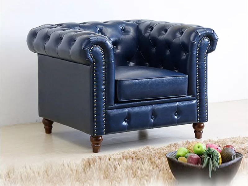 Uptop Furnishings-Office Modern Sofa Classic Scroll Arm Tufted Button Leather Sofa-4