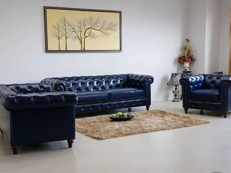 Uptop Furnishings-Office Modern Sofa Classic Scroll Arm Tufted Button Leather Sofa-7
