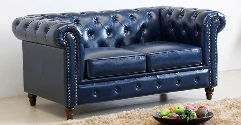 Uptop Furnishings-Office Modern Sofa Classic Scroll Arm Tufted Button Leather Sofa-5