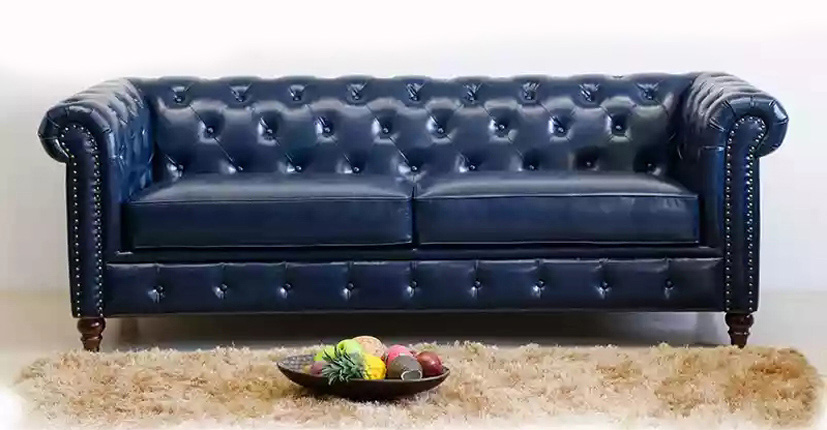 Uptop Furnishings-Office Modern Sofa Classic Scroll Arm Tufted Button Leather Sofa-6
