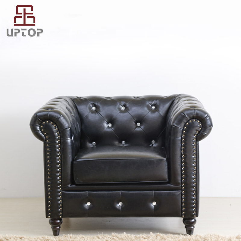 Uptop Furnishings-Cafe Furniture Manufacture | Classic Scroll Arm Button Tufted Chesterfield-1