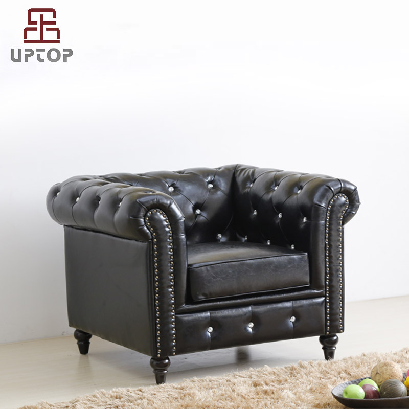 Uptop Furnishings-Cafe Furniture Manufacture | Classic Scroll Arm Button Tufted Chesterfield