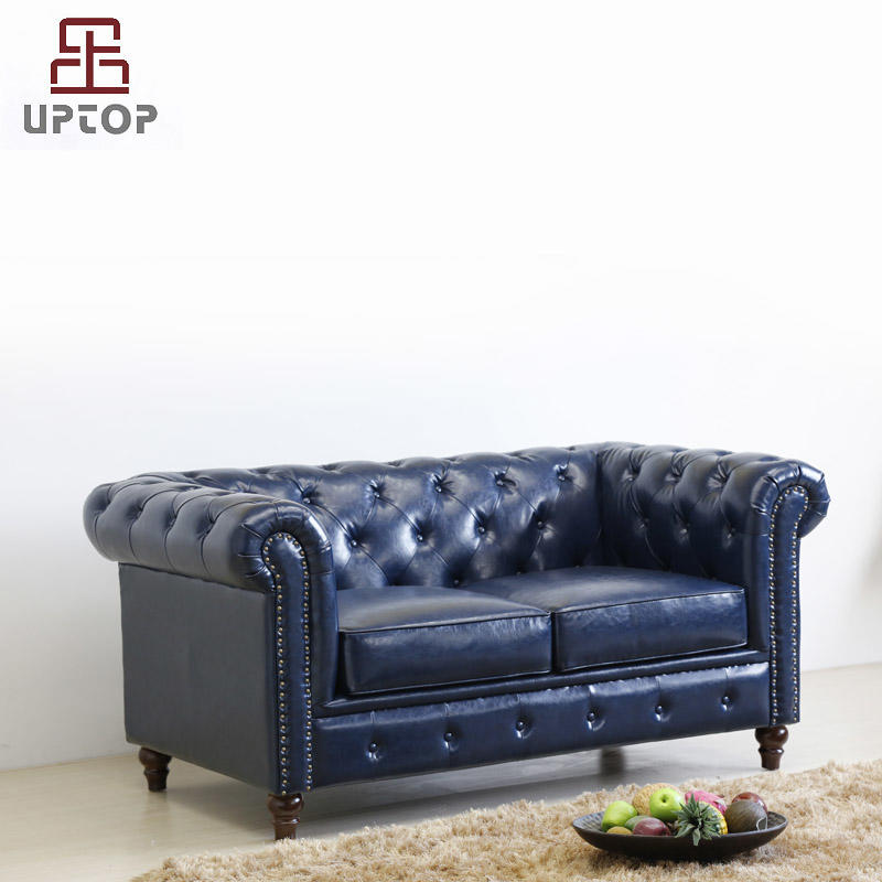 Classic Scroll Arm Button Tufted Chesterfield Style loveseat & sofa black ( SP-KS316 )
