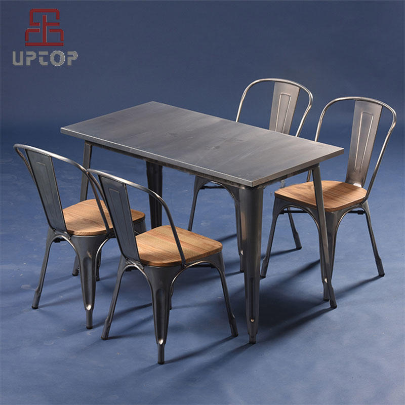 Modern Industrial  Stackable Dining Bistro Cafe Side Chair & Metal Table set (SP-CT676)