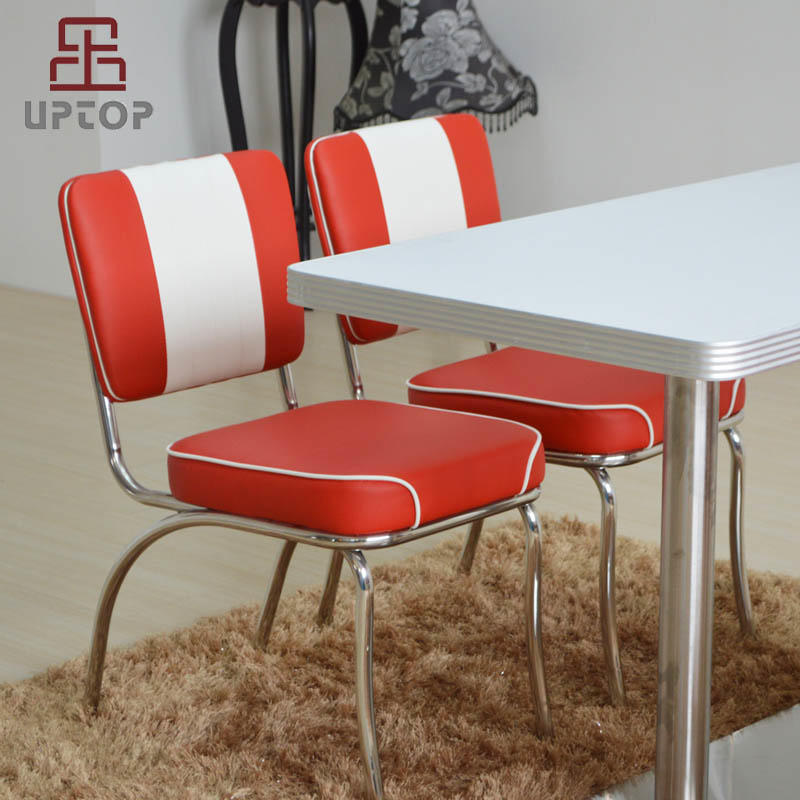 UPTOP Retro 1950s Diner Chair in Red and White with 2