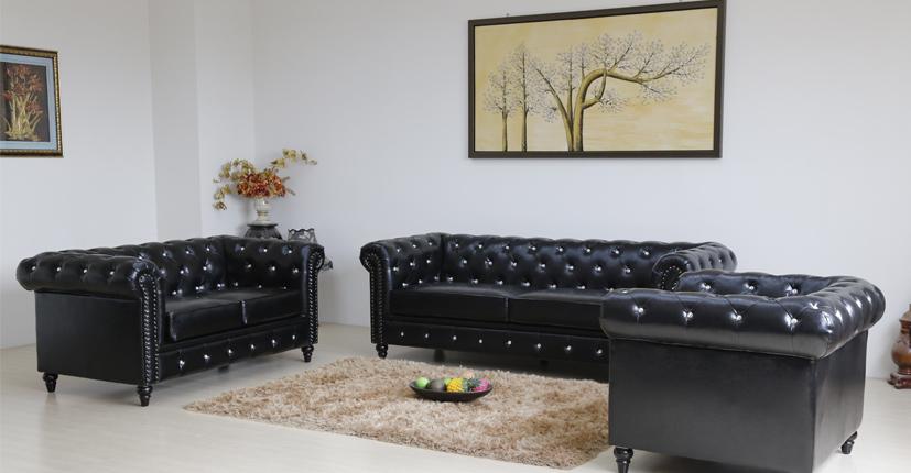 Uptop Furnishings-Find Waiting Room Sofa Classic Scroll Arm Sofa Black