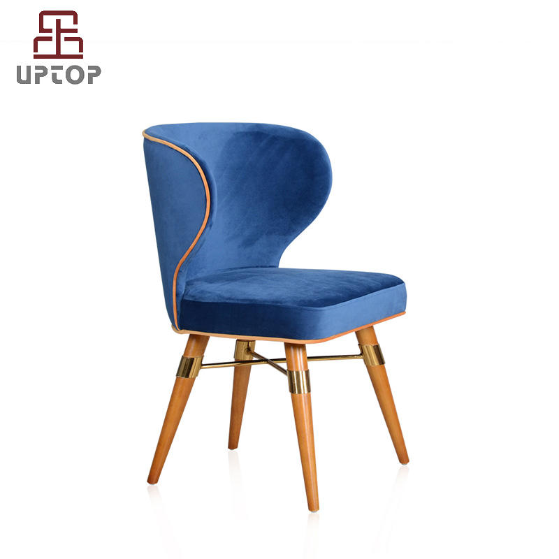 Traditional & Classic velet upholstery louis chair with wood legs (SP-HC585)