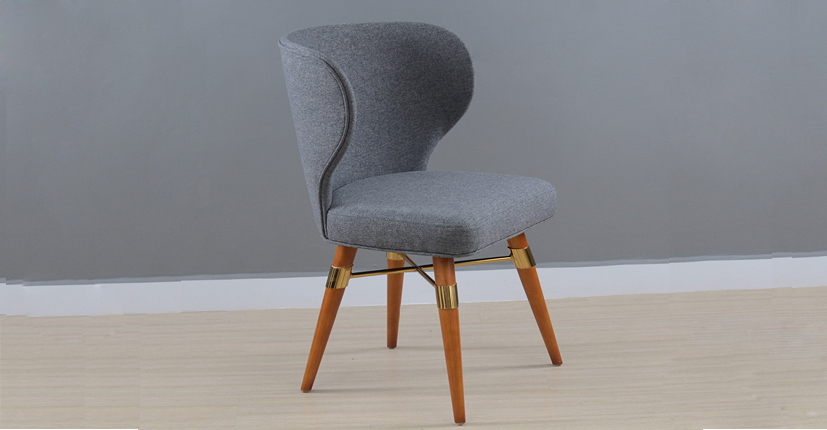 Uptop Furnishings-Traditional Velet Upholstery Louis Side Chair With Wood Legs