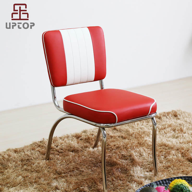 UPTOP Retro Stainless Steel Frame Red & White Leather Restaurant Chair (SP-LC292)