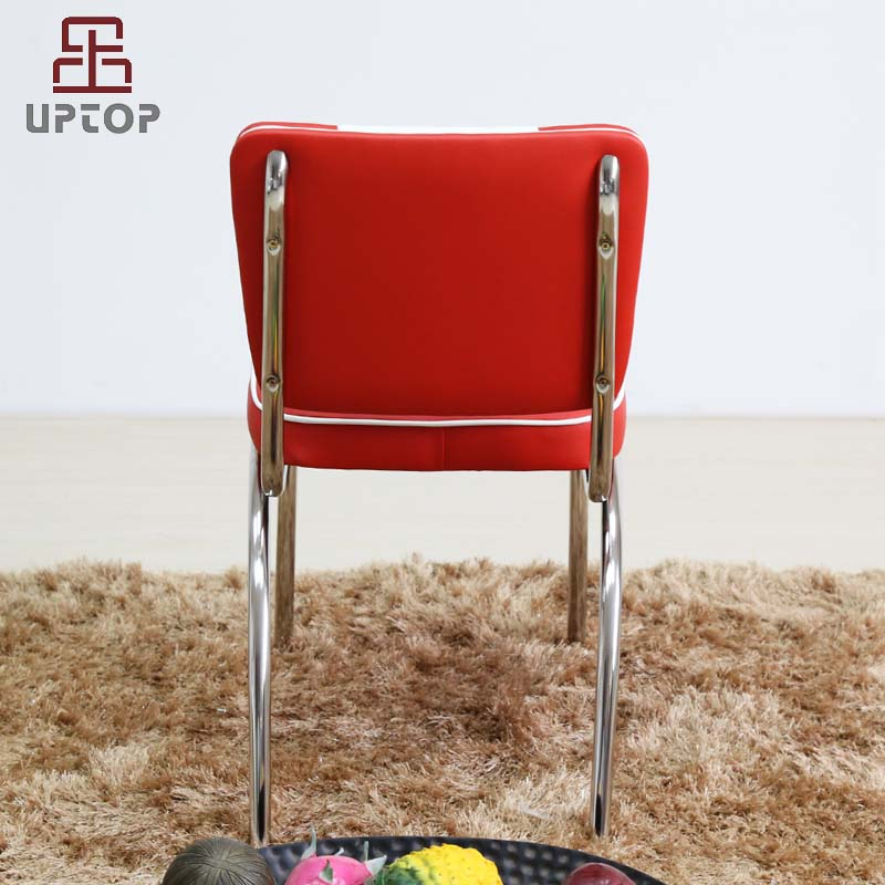 Uptop Furnishings-UPTOP Retro Stainless Steel Frame Red White Leather Restaurant Chair SP-LC292