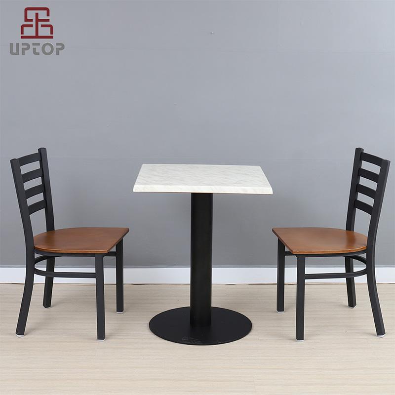 Uptop Furnishings-Cafe Metal Chair Uptop Black Ladder Back Metal Restaurant Chair-4