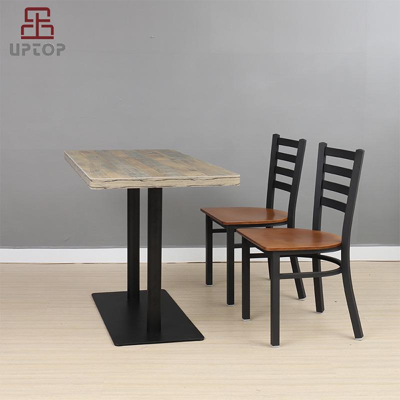 Uptop Furnishings-Cafe Metal Chair Uptop Black Ladder Back Metal Restaurant Chair-5