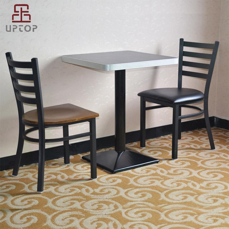 Uptop Furnishings-Cafe Metal Chair Uptop Black Ladder Back Metal Restaurant Chair-6