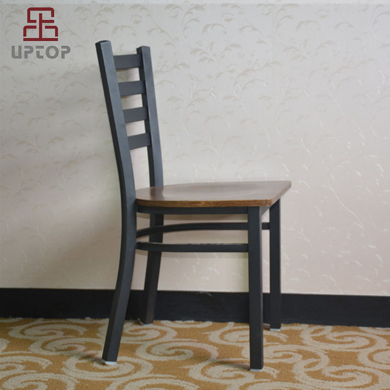Uptop Furnishings-Cafe Metal Chair Uptop Black Ladder Back Metal Restaurant Chair-7
