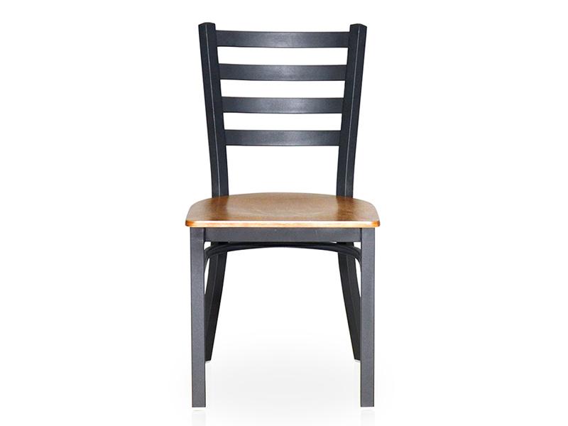 Uptop Furnishings-Cafe Metal Chair Uptop Black Ladder Back Metal Restaurant Chair-1