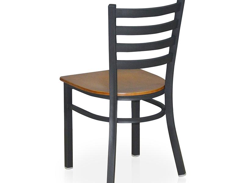 Uptop Furnishings-Cafe Metal Chair Uptop Black Ladder Back Metal Restaurant Chair-3