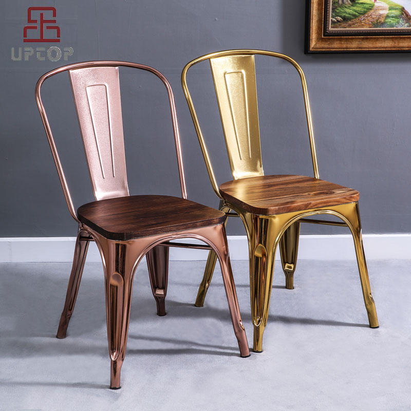 Tolix Style Dining Chair Stackable Industrial Vintage High Back Indoor Outdoor Metal Side Chair gold (SP-MC035)